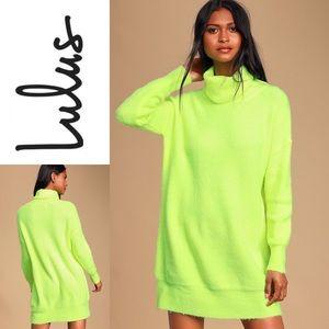 NWT LULU'S NeonYellow Turtleneck Midi SweaterDress